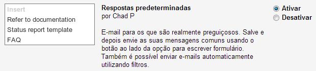 Ativando as respostas predeterminadas no Gmail Labs (Foto: Reprodução/Ricardo Fraga)