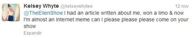 Tuíte de Whyte pedidndo para ir ao The Ellen Degeneres Show (Foto: Reprodução)