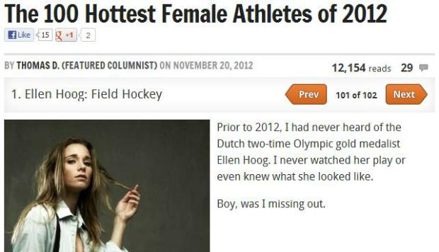 Lista das 100 atletas mais sexy é liderada por holandesa (Foto: Reprodução/Bleacher Report)