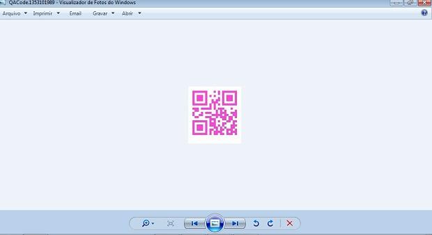QR Code pronto, salvo no computador