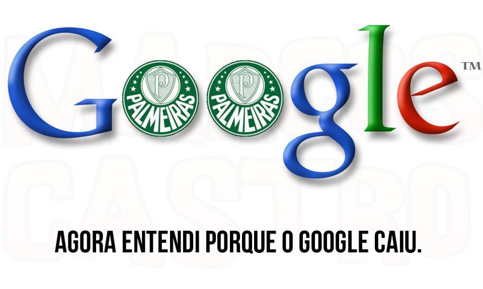 Usuários brincam com o logo do Google e com o escudo do Palmeiras (Foto: Reprodução/Facebook)