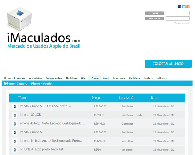 O iMaculados é um site de anúncios especializado em produtos da Apple (Foto: Divulgação)