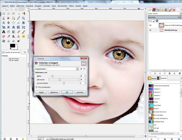 """Janela """"Colorizar"""" ajustada para cor dos olhos final (Foto: Reprodução/Raquel Freire)"""