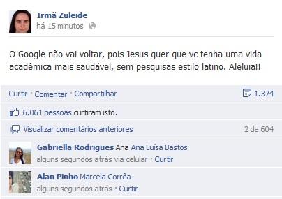 O perfil da Irmã Zuleide no Faacebook também comentou o ocorrido (Foto: Reprodução)