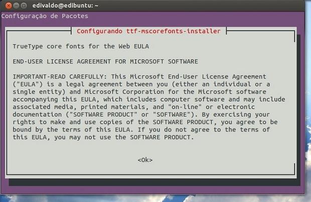 Confirmando a configuração do pacote de fontes (Foto: Reprodução/Edivaldo Brito)