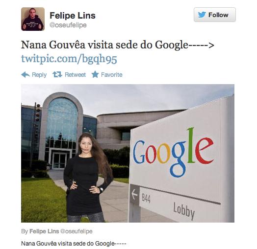 Nana Gouvêa visita sede do Google; em montagem de usuário do Twitter (Foto: Reprodução/Twitter)