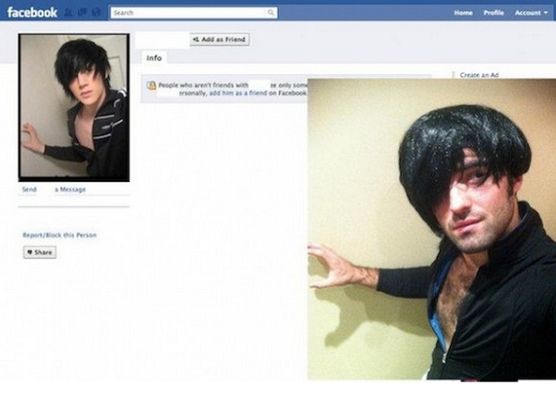 Jovem coloca peruca para se parecer com usuário de rede social (Foto: Reprodução/Facebook)