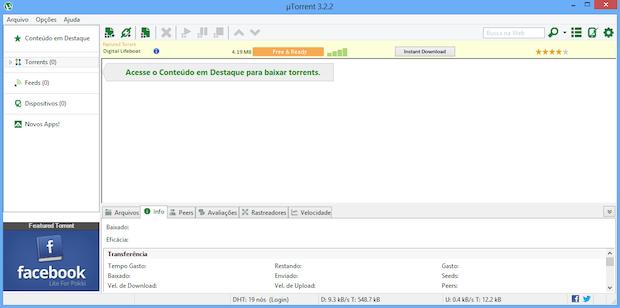 uTorrent com anúncios (Foto: Reprodução/Helito Bijora)