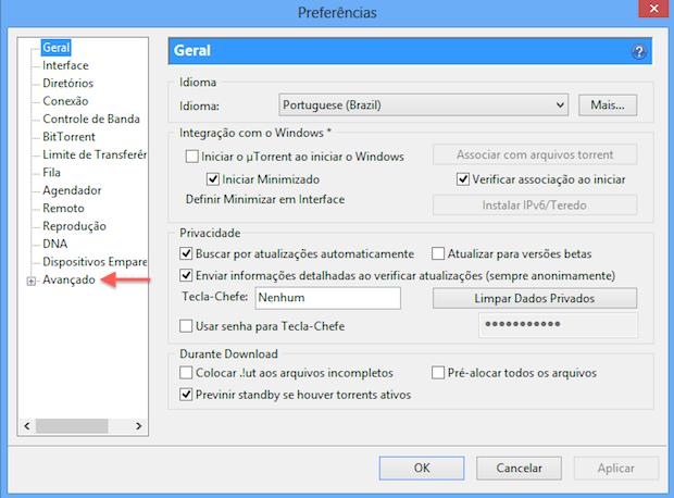 Opções do uTorrent (Foto: Reprodução/Helito Bijora)