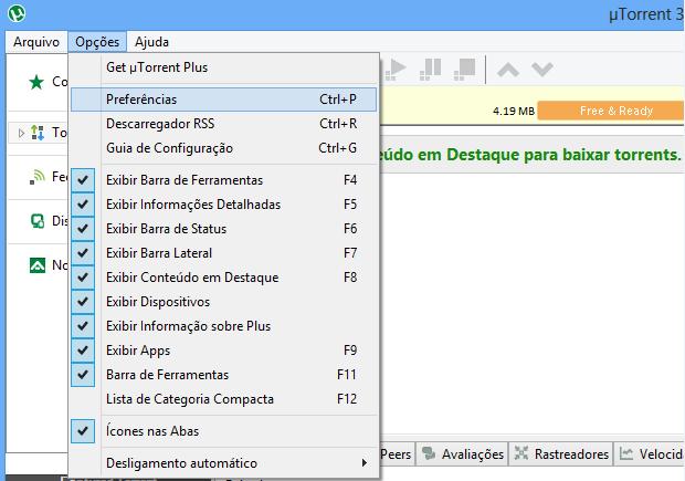 Acessando configurações do uTorrent (Foto: Reprodução/Helito Bijora)