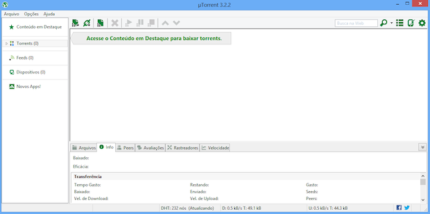 uTorrent com anúncios desativados (Foto: Reprodução/Helito Bijora)