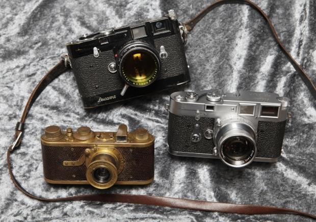 As três câmeras Leica leiloadas por 3,6 milhões de euro (Foto: Reprodução)