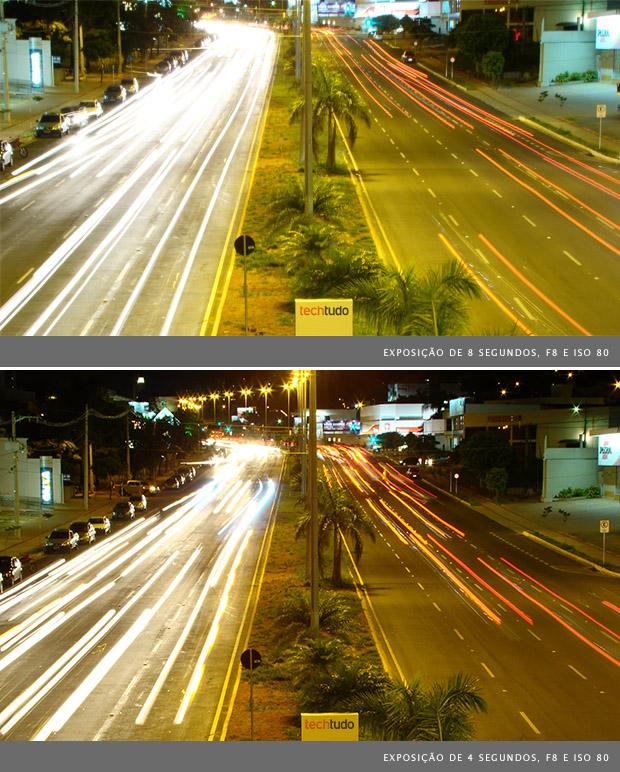 Fotografias de avenida, utilizando exposição de 8 segundos na imagem superior e de 4 segundos na imagem inferior (Foto: Adriano Hamaguchi)