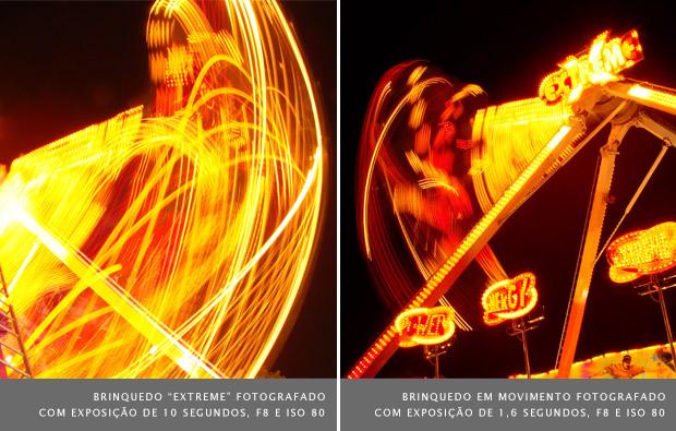 """Fotografia da atração """"Extreme"""" em um parque de diversões, utilizando velocidade de 10 segundos à esquerda, e 1,6 segundos à direita (Foto: Adriano Hamaguchi)"""
