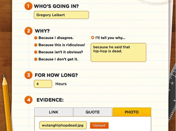Preencha um formulário e deixe seu amigo de castigo (Foto: Reprodução)