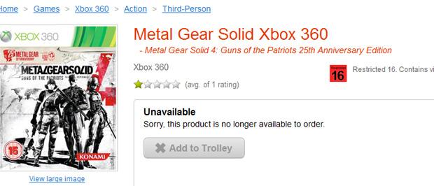 Versão Xbox 360 de Metal Gear Solid 4 aparece em loja online (Foto: Reprodução)