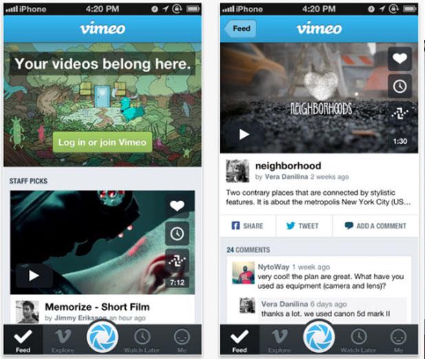 Aplicativo do Vimeo foi redesenhado para trazer maior praticidade (Foto: Reprodução/The Next Web)