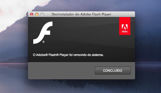 Flash Player removido com sucesso (Foto: Reprodução/Helito Bijora)