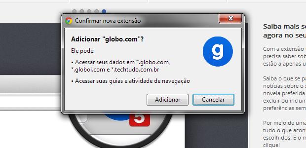 Autorizando a instalação no Chrome(Foto: Reprodução/Ricardo Fraga)