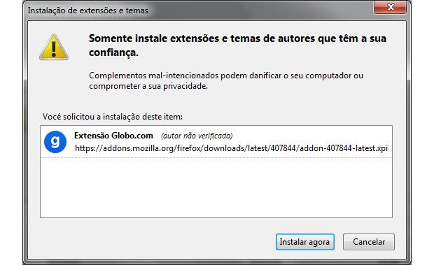 Autorizando a instalação no Firefox (Foto: Reprodução/Ricardo Fraga)