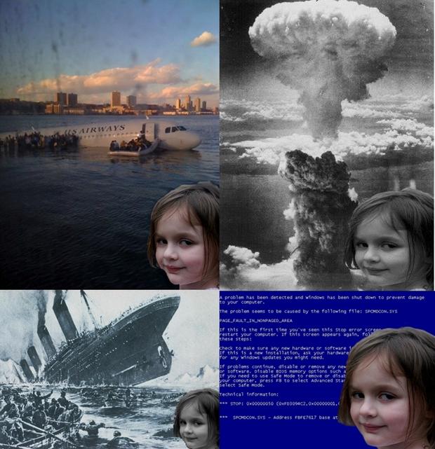Montagem com alguns memes criados com a 'Garota Desastre' (Foto: Reprodução) (Foto: Montagem com alguns memes criados com a 'Garota Desastre' (Foto: Reprodução))
