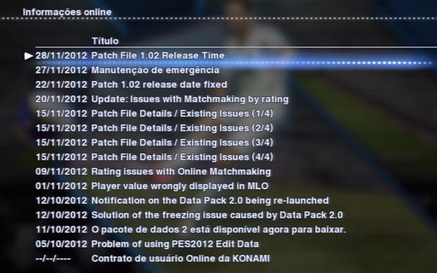 Lista mostra as atualizações de PES 2013 (Foto: Reprodução)
