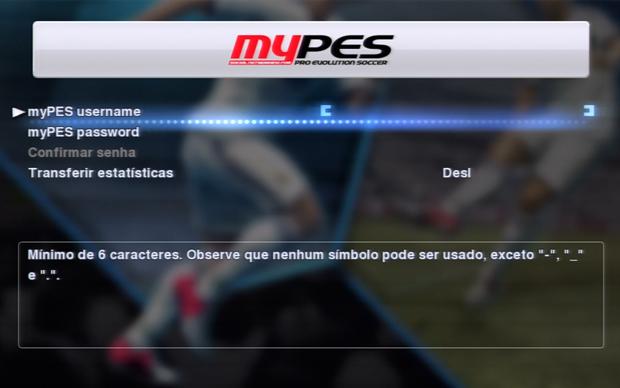 Insira seus dados para configurar o MyPes em PES 2013 (Foto: Reprodução)