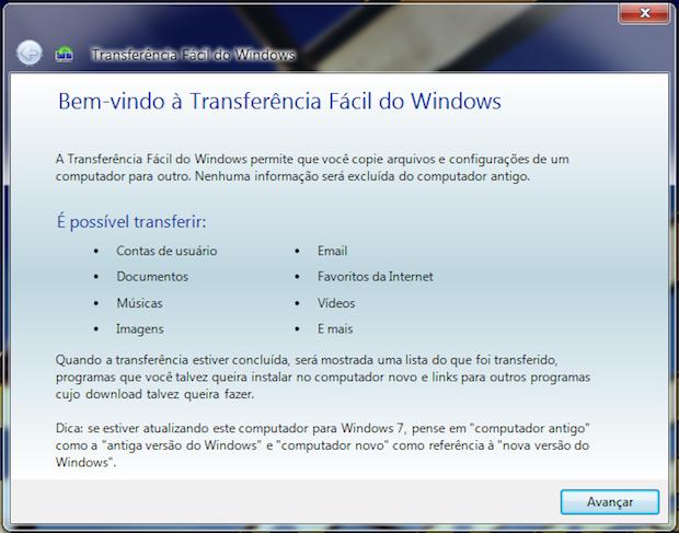 Transferência fácil do Windows (Foto: Reprodução/Helito Bijora)