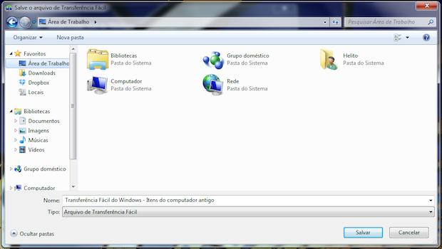 Salvando arquivos a serem transferidos (Foto: Reprodução/Helito Bijora)