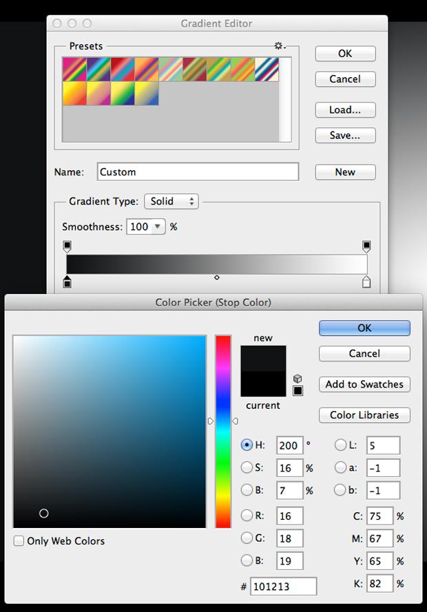 Defina a primeira cor do gradiente. (Foto: Reprodução/André Sugai)