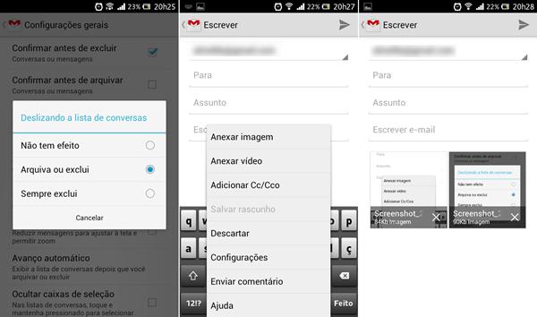 Atualização do Gmail permitirá arquivar ou eliminar mensagens, além de anexar fotografias e vídeos (Foto: Reprodução/Aline Ferreira)