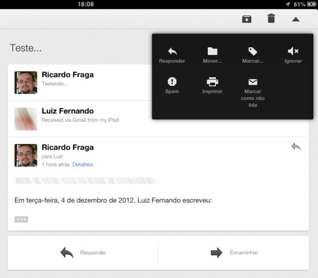O avatar dos usuários passa a ser exibido nas conversas e menu de opções ganhou um novo visual (Foto: Reprodução/Ricardo Fraga)