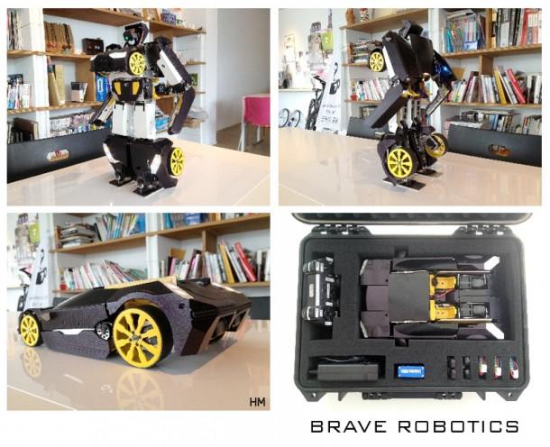 Empresa Brave Robotics cria um robô que atira e vira carro como um Transformer utilizando impressora 3D (Foto: Reprodução)