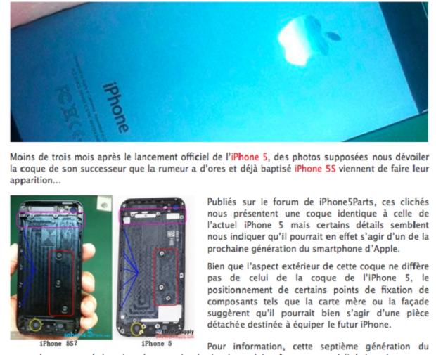 iPhone 5S apareceu em site francês (Foto: Reprodução/CNET)