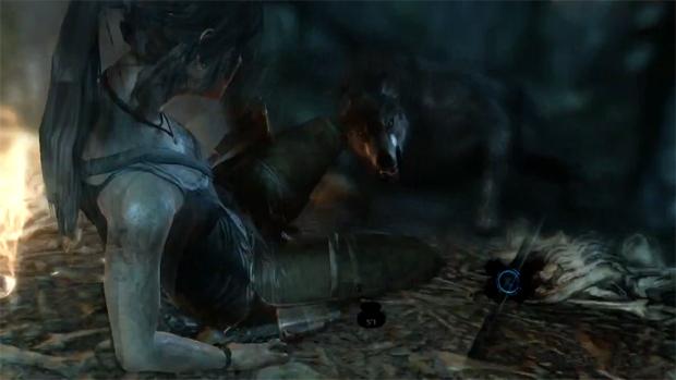 Lara Croft tem que enfrentar um lobo assassino, mas tudo em QTE (Foto: Divulgação)