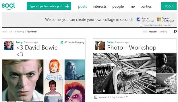 Site propõe união entre busca por imagens e rede social (Foto: Reprodução/SoCl)
