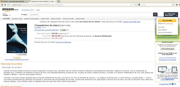 Faça o login com sua conta na Amazon (Foto: Reprodução)