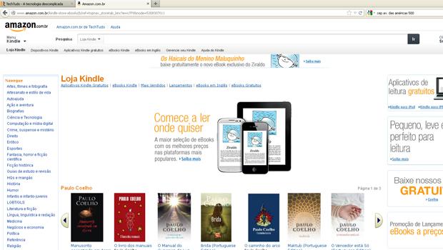 Loja Kindle no site da Amazon (Foto: Reprodução)