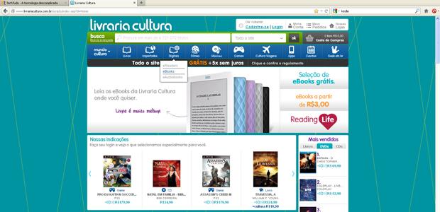 Página inicial da Livraria Cultura (Foto: Reprodução)