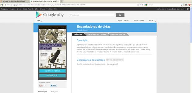 Comprando o livro na Google Play (Foto: Reprodução)