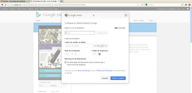 Insira seus dados para configurar sua carteira virtual (Foto: Reprodução)