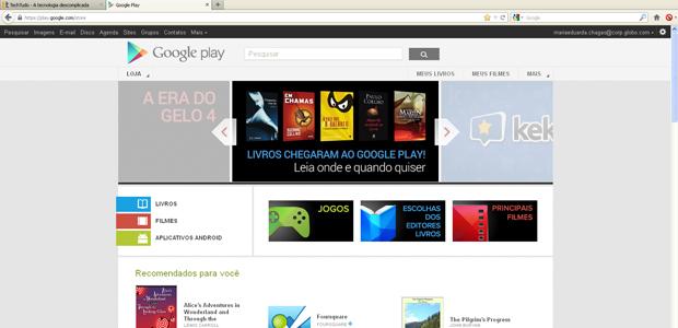 Página inicial da Google Play (Foto: Reprodução)