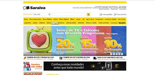 Livros digitais no site da Saraiva (Foto: Reprodução)