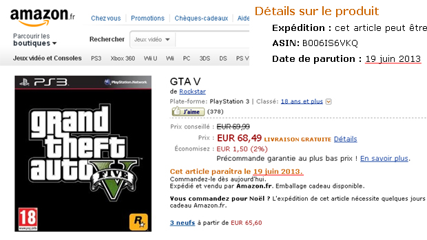 GTA 5 aparece com lançamento em 19 de junho de 2013 na Amazon da França (Foto: Divulgação)