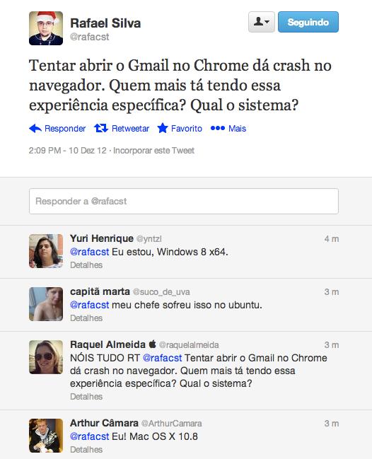 Usuários relatando o crash no navegador Chrome ao acessar o Gmail (Foto: Reprodução/Twitter)