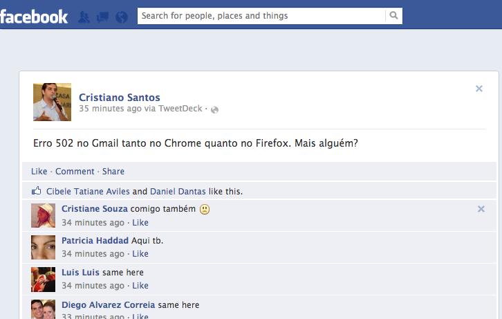 Usuários relatavam e procuravam informações sobre a queda no Facebook (Foto: Reprodução/Facebook)