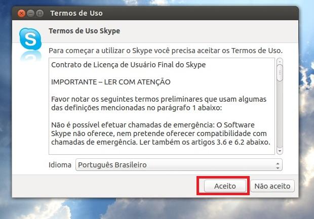 Aceitando o contrato de uso do Skype (Foto: Reprodução/Edivaldo Brito)