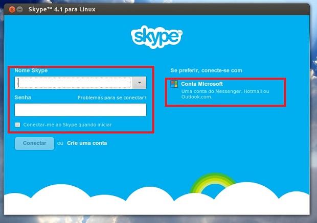 Tela inicial do Skype: Conta Skype ou Microsoft (Foto: Reprodução/Edivaldo Brito)