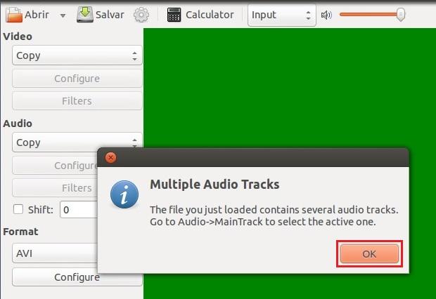 """Avidemux informando """"Multiple Audio Tracks"""" (Foto: reprodução/Edivaldo Brito)"""