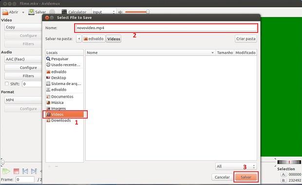 Digitando o nome e confirmando a exportação do arquivo para o formato MP4 (Foto: reprodução/Edivaldo Brito)